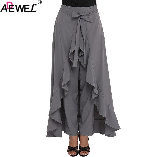 945ca767a US $20.56 20% OFF|ADEWEL 2019 Elegant Culotte Black Gray Chic Chiffon Women  Maxi Skirt & Pants Tie Waist Ruffle Skirted Palazzo Pants Solid XXL-in ...