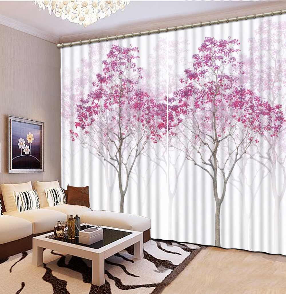 3D curtains High Quality Costom Luxury European Modern pink tree blackout curtains for kids room Blackout Shade Window Curtains