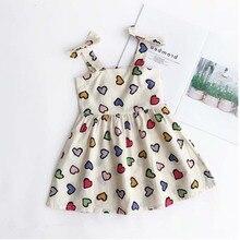 Новое поступление, платье с узором в виде сердца для девочек детское летнее платье пляжное платье для девочек