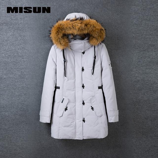 Misun engrosamiento con una capucha cuello de piel medio-largo recta abajo mujeres escudo abrigos