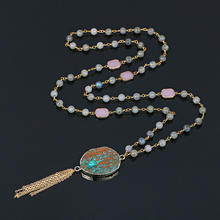 цена Natural Labradorite Long Necklace Handmade Gold Chain Tassel Green Stone Necklace Rectangle Rose Quartz Bead Necklaces For Women онлайн в 2017 году