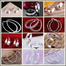 Factory price top quaility 925 stamped silver plated jewelry earring fine smooth circle hoop jewelry earring 12 styles