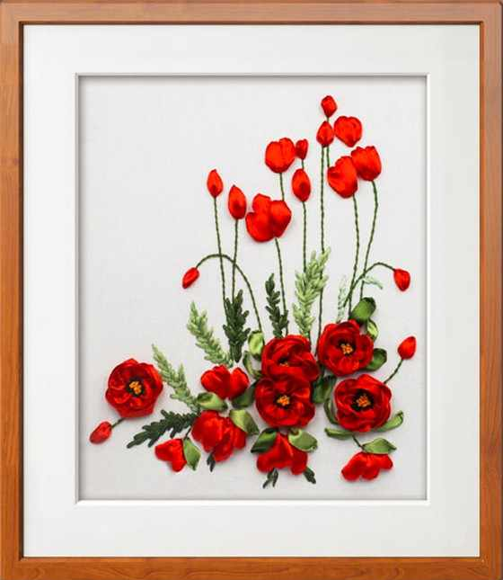 Красный цветок мака лента вышивка комплект готовой картины холст краски  краска ручной работы DIY рукоделие ручной 45a7ea755fd39