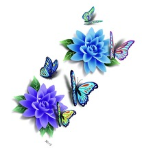 Fashion New Elf Makeup Products 3D Tattoos Flash Stickers Blue Butterfly Rose Flower Angel Ttoo Lower
