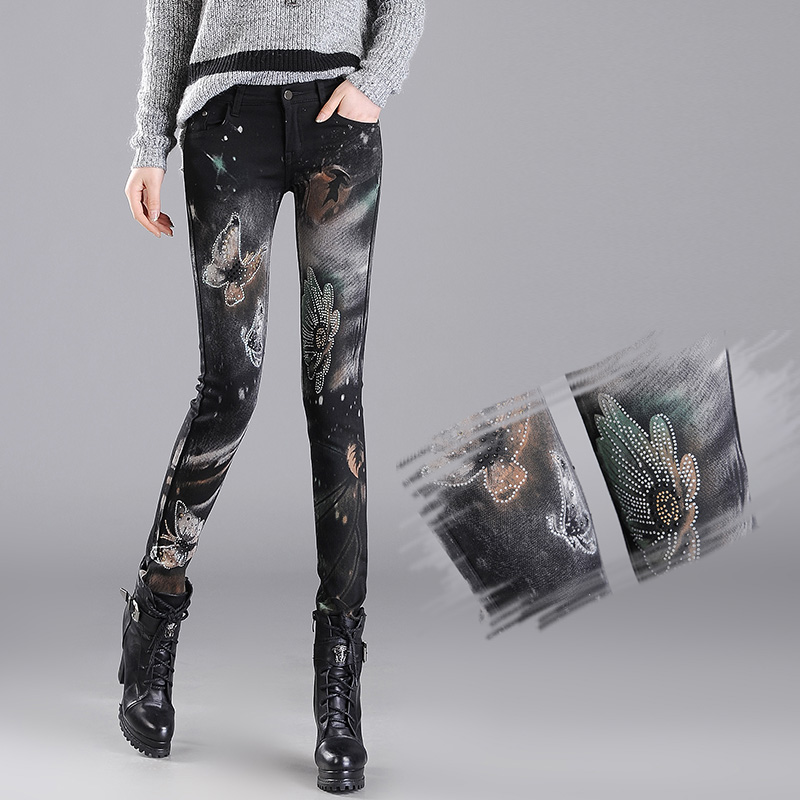 New Fashion Jeans Women Printing Pencil Pants Jeans Slim Elastic Skinny Pants Trousers Lady Jeans Clothing