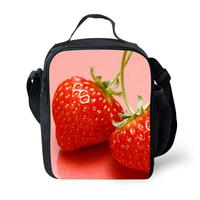 Fruits Strawberry 3D Prints Portable Lunch Bags Dispalang Design Thermal Waterproof Insulated Picnic Lunch Box Food