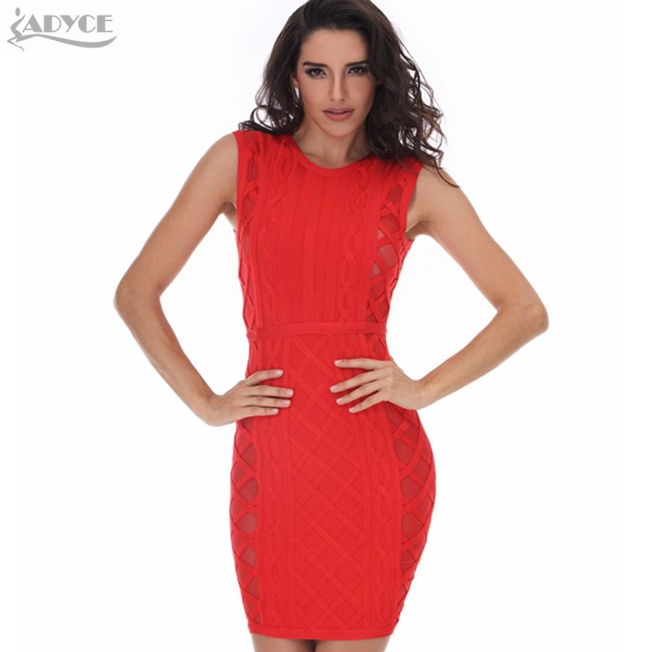 552d966039f In Stock 2017 new Summer Women Evening Party Bandage Dress Red Bodycon  Dress O-neck plaid Mesh Sleeveless Celebrity Runway Dress
