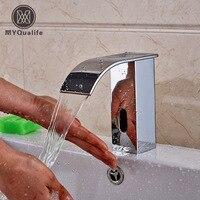 תחושת מגע ידיים משלוח חינם אמבטיה מפל כרום ברז מים ברז אוטומטי חיישן אינפרא אדום