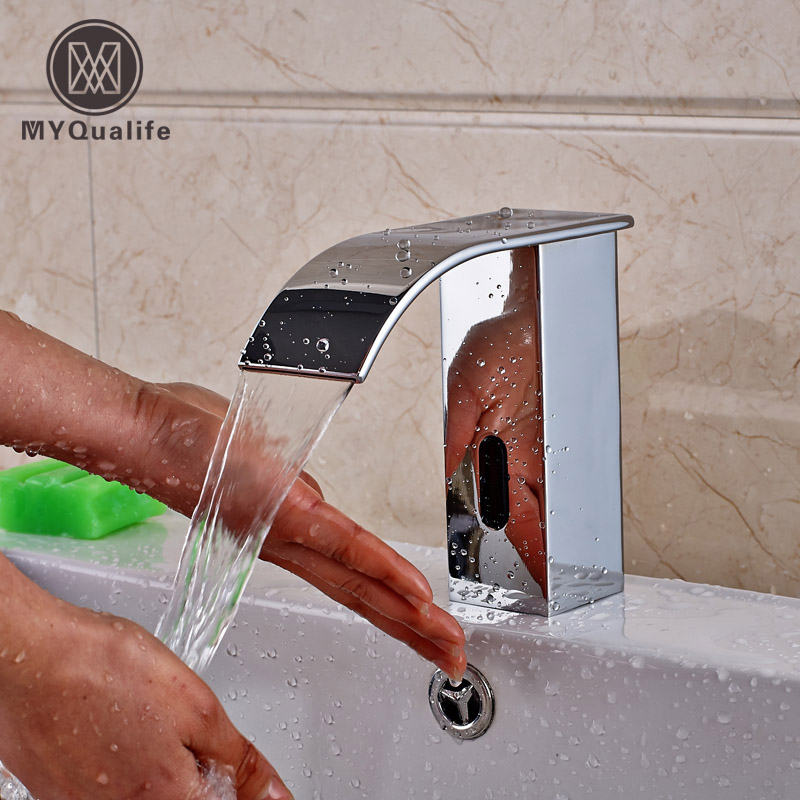 Free shipping Hands Free Touch Sense Faucet Chrome Waterfall Bathroom Automatic Infrared Sensor Water Tap sense and sensibility