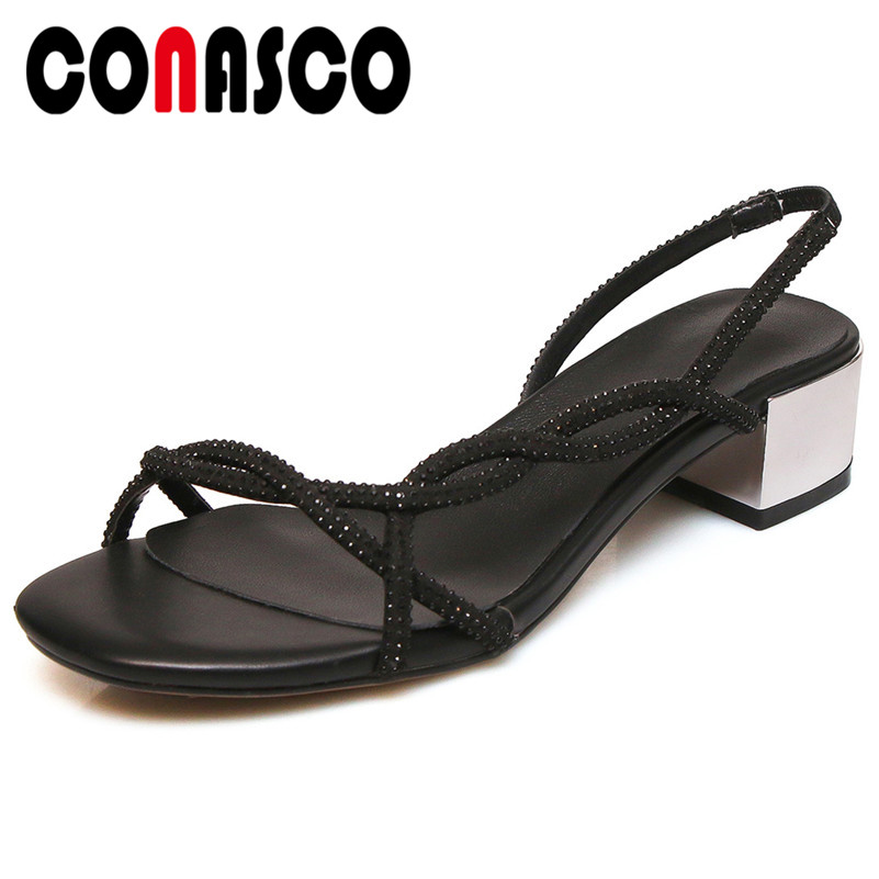 CONASCO 2019 Summer New Concise Thin Strap Women Sandals Bling Shallow Rome High Heels Fashion Party Casual Basic Shoes WomanCONASCO 2019 Summer New Concise Thin Strap Women Sandals Bling Shallow Rome High Heels Fashion Party Casual Basic Shoes Woman