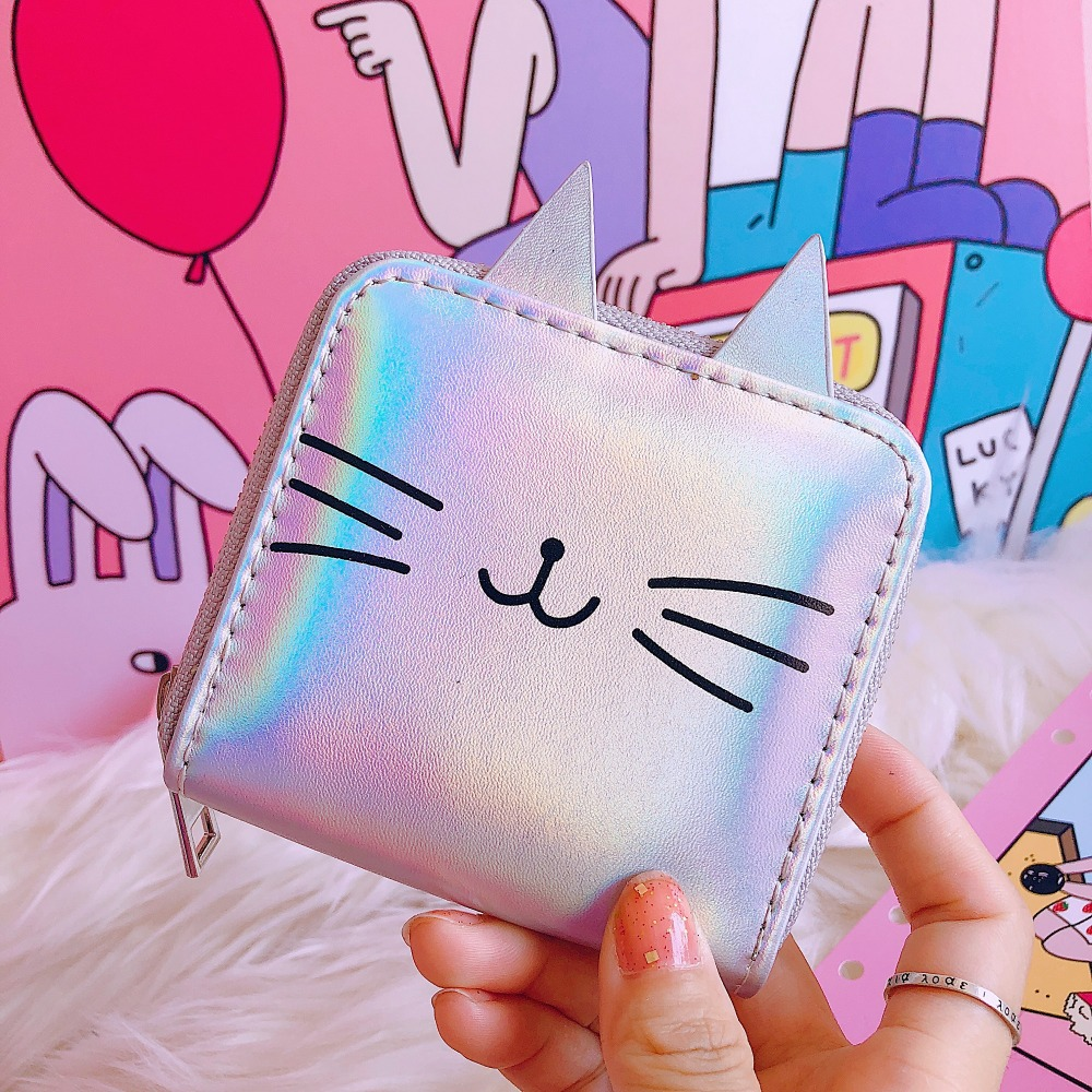 Cartoon Cat Women Leather Wallets Kawaii Short Purse PU Coin Purse Small Zipper Clutch Bag Female Bank Card Holder Wallet bentoy brand women short wallet hologram pu moon embroidery pearl wallet female zipper clutch coin purse laser card holder bag