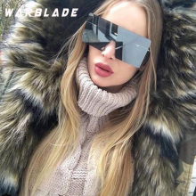 WarBLade grote eendelige lens zonnebril vrouwen vierkante blauw roze bruin metalen randloze zonnebril voor mannen mannelijke 2018 uv400