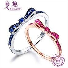 Anillos para las mujeres 100% plata esterlina 925 joyería fina azul espinela arco empilable estilo coreano lindo para las muchachas