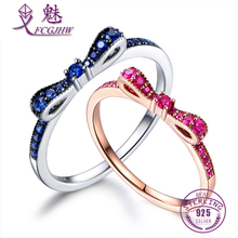 Rings For Women 100 Sterling Silver 925 Fine Jewelry Blue Spinel Sparkling Bow Knot Stackable Korean