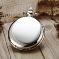 Steampunk Pocket Watch Silver Color Smooth Face with 30cm Pin Chain P300C