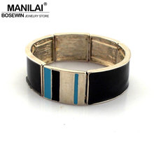 MANILAI Fashion Women Bracelets Alloy Elastic Silver Color Tone Cuff Bracelet Indian Statement Charm Bangles Jewelry(China)