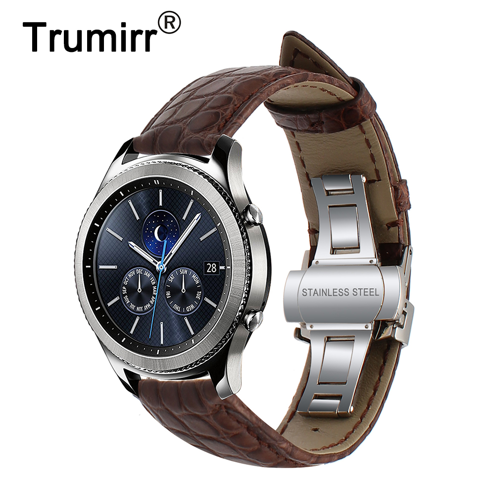 Genuine Crocodile Leather Watchband 22mm for Samsung Gear S3 Classic Frontier Watch Band Steel Butterfly Buckle Strap Wrist Belt 22mm ceramic watchband for samsung gear s3 classic frontier xiaomi amazfit watch band steel butterfly buckle strap black white
