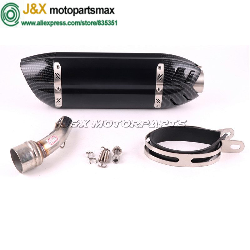J&X - YZF-R3 Motorcycle Exhaust full system contact middle pipe + Muffler for YAMAHA R3 2015-2016 Slip-On  цена и фото