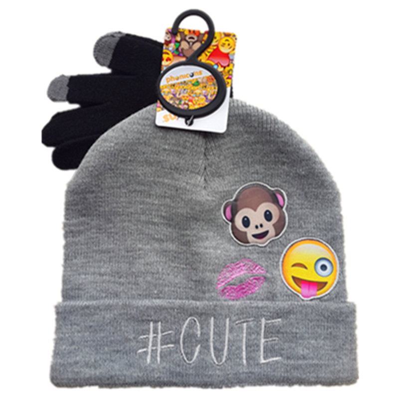 Funny expression Original Smiley Emoticons Phonicons Monkey Cute Knitted Woolen Fashion Graphic Hats With Gloves Winter Beanie navy monkey with smile