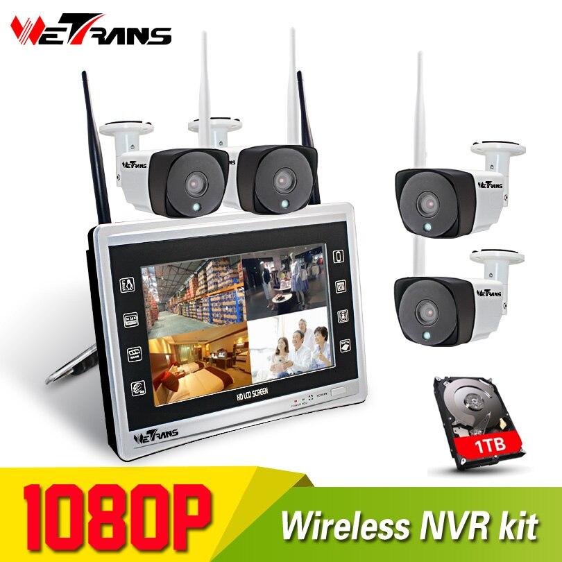 Беспроводная система видеонаблюдения 4CH HD 1080 P м 20 м ИК ночного видения цельный дисплей NVR Wifi комплект видеонаблюдения
