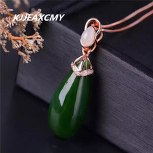 KJJEAXCMY boutique jewelry,Natural Russian Jasper female pendant, S925 silver inlay, natural jade, large water drop necklace, je