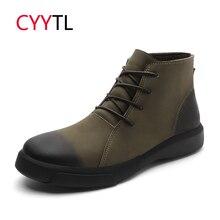 CYYTL/мягкие мужские мотоциклетные ботинки; Повседневная зимняя обувь; удобные кожаные мужские кроссовки Erkek Bot для безопасной работы; Zapatos botas hombre