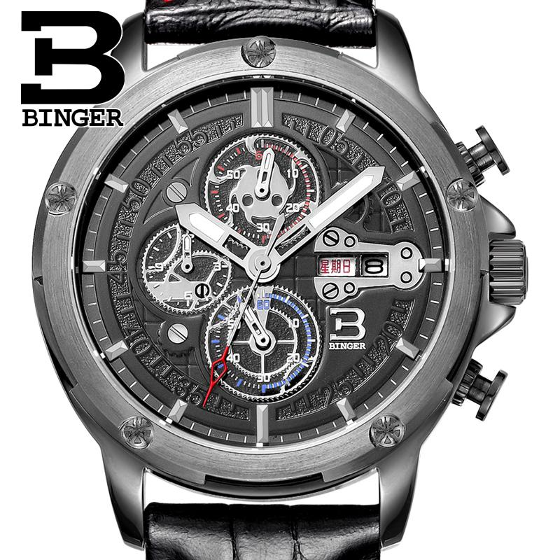 Switzerland watches men luxury brand Wristwatches BINGER Quartz men's watch leather strap Chronograph Diver glowwatch B6009-4 switzerland binger men s watches luxury brand quartz waterproof leather strap clock chronograph stop watch wristwatches b9202 8