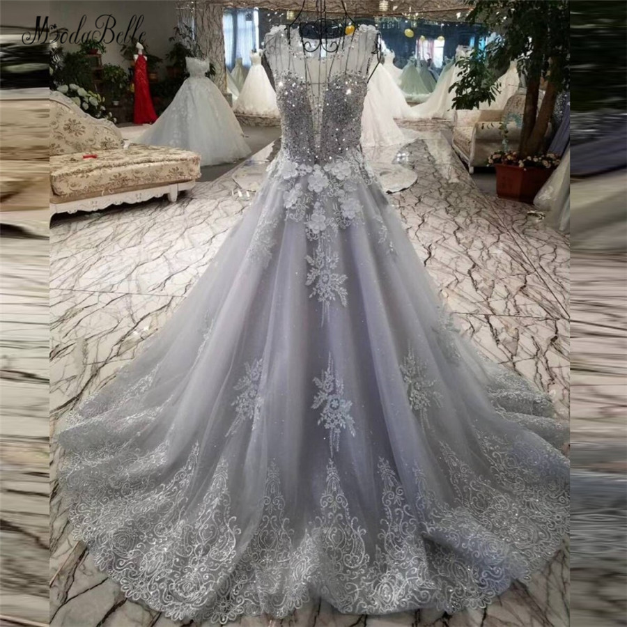 modabelle Gray Silver Evening Gowns For Women 2018 Top Sequin Lace Beading Sexy Formal Long Dresses Elegant Evening Dress Tulle