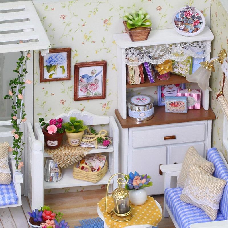 Doll House Furniture Diy Miniature 3D Wooden Miniaturas Dollhouse Toys For Children Birthday Gifts Casa Kitten Diary H013