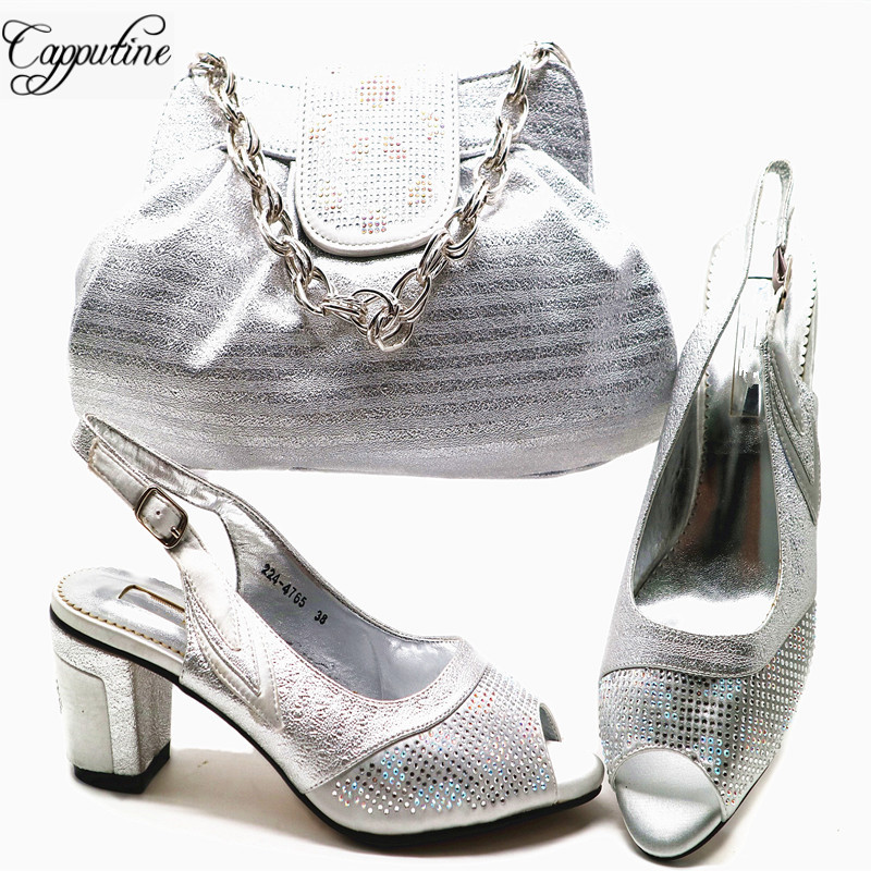 Capputine High Quality Italian Women Shoes And Bag Set For Wedding AFrican Pu With Rhinestone Middle Heels Shoes And Bag Set G55 capputine italian fashion design woman shoes and bag set european rhinestone high heels shoes and bag set for wedding dress g40