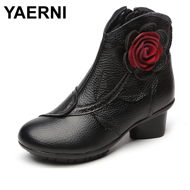 YAERNI New Folk Style Floral Female Shoes Winter Comfortable Genuine Leather Ankle Boots for Women All Match Retro Boots Lady irst layer of cowhide handsome female ankle boots fashion boots pull style all match elegant 6 8 5