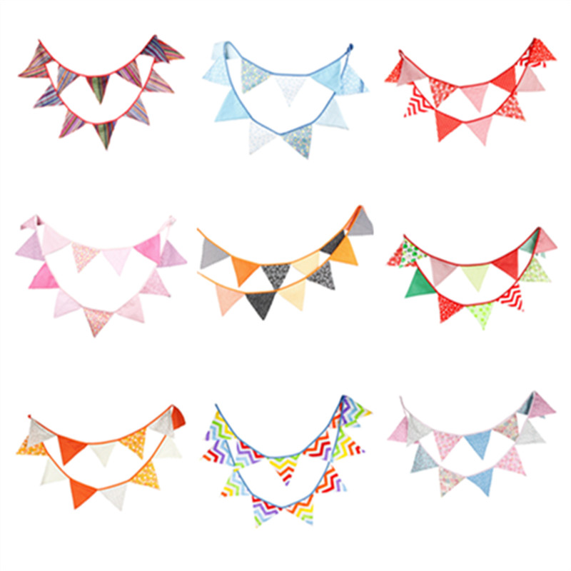 12 Flags 3.2m Handmade Cotton Fabric Bunting Pennant Flags Banner Garland Baby Show Home/Out Door Party Decorative Supplies