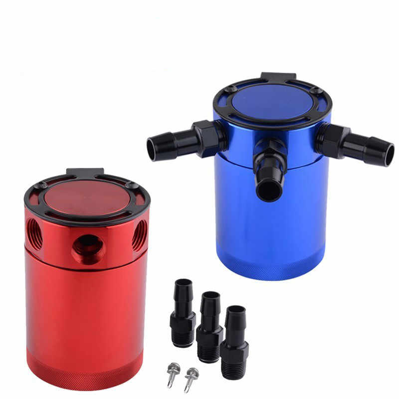ESPEEDER Universal Aluminum Raing Auto 3-Port Oil Catch Can Breather Tank Cylinder Oil Tank Fuel Tank For Honda
