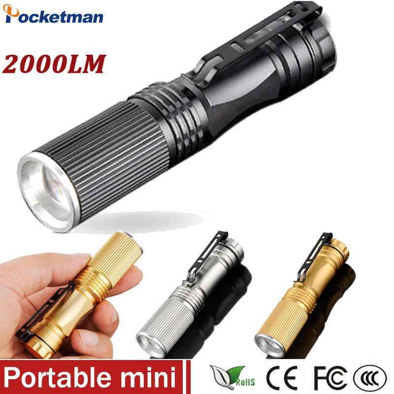 كشاف ضوئي صغير LED بقدرة 2000 لومن مصباح يدوي مصباح يدوي قابل للتكبير مزود بـ 3 ألوان مقاومة للماء ZK93