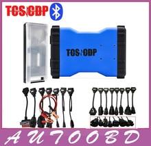 Новый 2014 R2 DVD/CD Синий TCS CDP Pro Bluetooth + 8 АВТО Кабели + 8 Грузовиков Кабели для Авто OBD OBDII Сканер cdp Диагностики инструменты