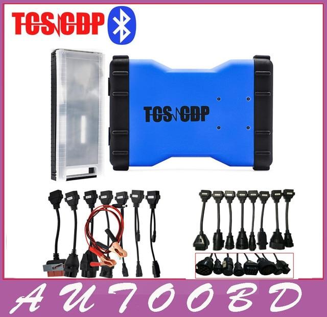 Nuevo 2014 R2 DVD/CD Azul TCS CDP Pro + Bluetooth 8 Cables DEL COCHE + 8 Cables de Camiones para cdp Auto OBD Obdii de Diagnóstico herramientas
