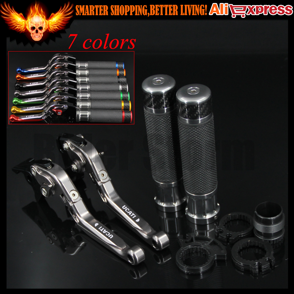 ФОТО 7 Colors Full Titanium CNC Adjustable Motorcycle Brake Clutch Levers&Handlebar Hand Grips For Ducati 916/916SPS UP TO 1998