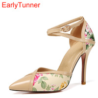 2018 Brand New Sweet Apricot Black Women Floral Sandals High Heels Lady Stiletto Party Shoes EMS7