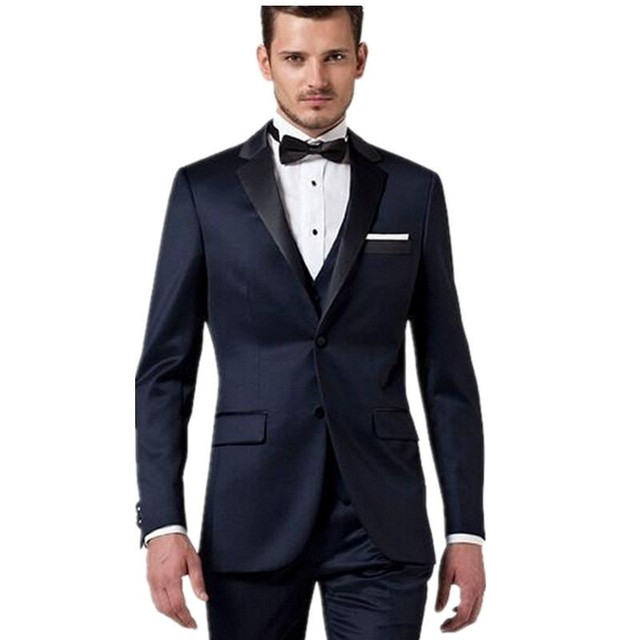 Top Selling Two Buttons Navy Blue Peaked Lapel Wedding Tuxedos Best ...