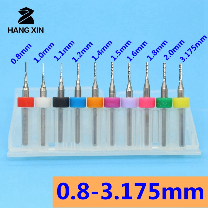 HANGXIN 10PCS  Diameter 0.6mm-1.5mm Micro Carbide End Milling Cutter CNC Router Bits Mini End Mill For PCB Machine