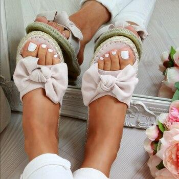 Bow femmes pantoufles femmes pantoufles bout ouvert chaussures confortables décontractées dames en plein air plage été 2019 nouvelles tongs livraison directe