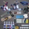 Complete Tattoo Machine Kit Set 2 Coils Guns 6 Colors Black Pigment Sets Power Tatoo Beginner Grips Kits Permanent Makeup