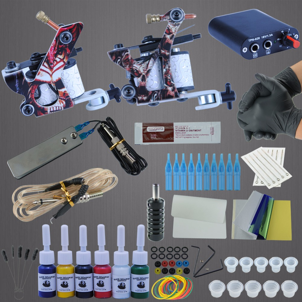 Complete tattoo machine kit set 2 coils guns 6 colors for How to set up a tattoo machine