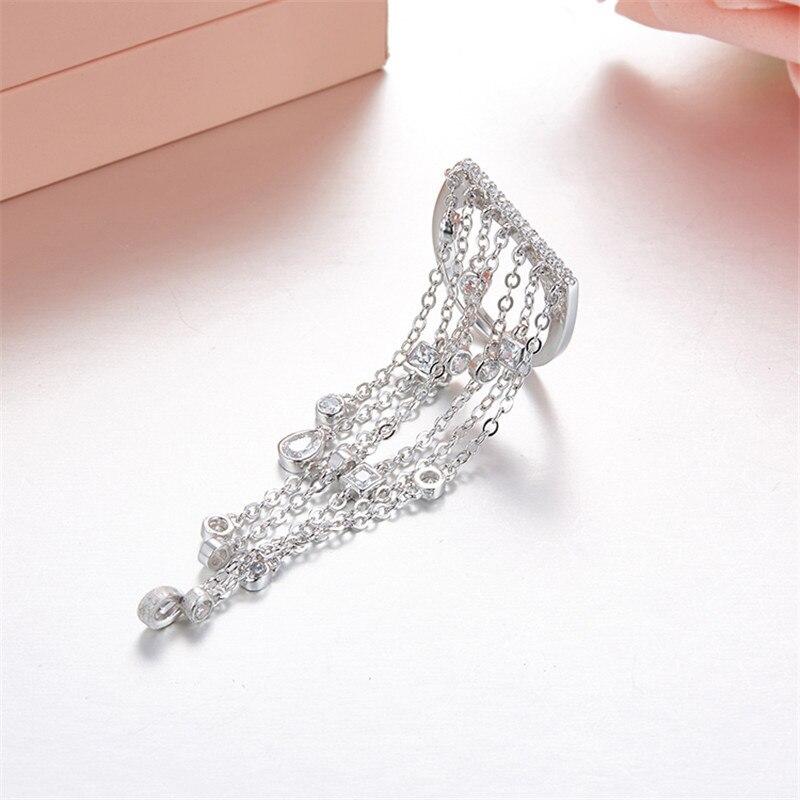 LUKENI Free Shipping Hot Sale AAA Zircon S925 Sterling Silver Microscope Single Ring Tassel Rings For Women Fashion Jewelry