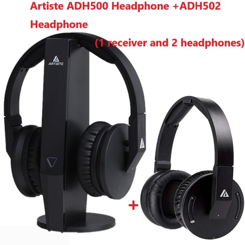 Artiste ADH500 ADH502 1 receiver base 2 headphones 2 4GHz Wireless TV Headphone HiFi Headset 3