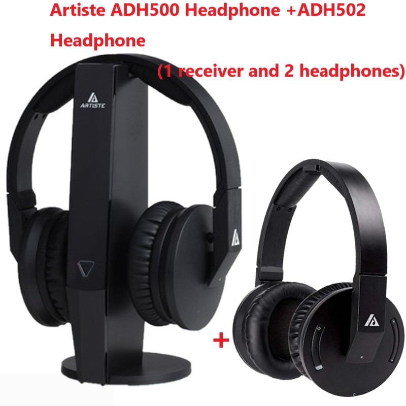 US $125.18 7% OFF|Artiste ADH500 + ADH502 1 receiver base 2 headphones 2.4GHz Wireless TV Headphone HiFi Headset 3.5mm Jack for PC TV 2 Person