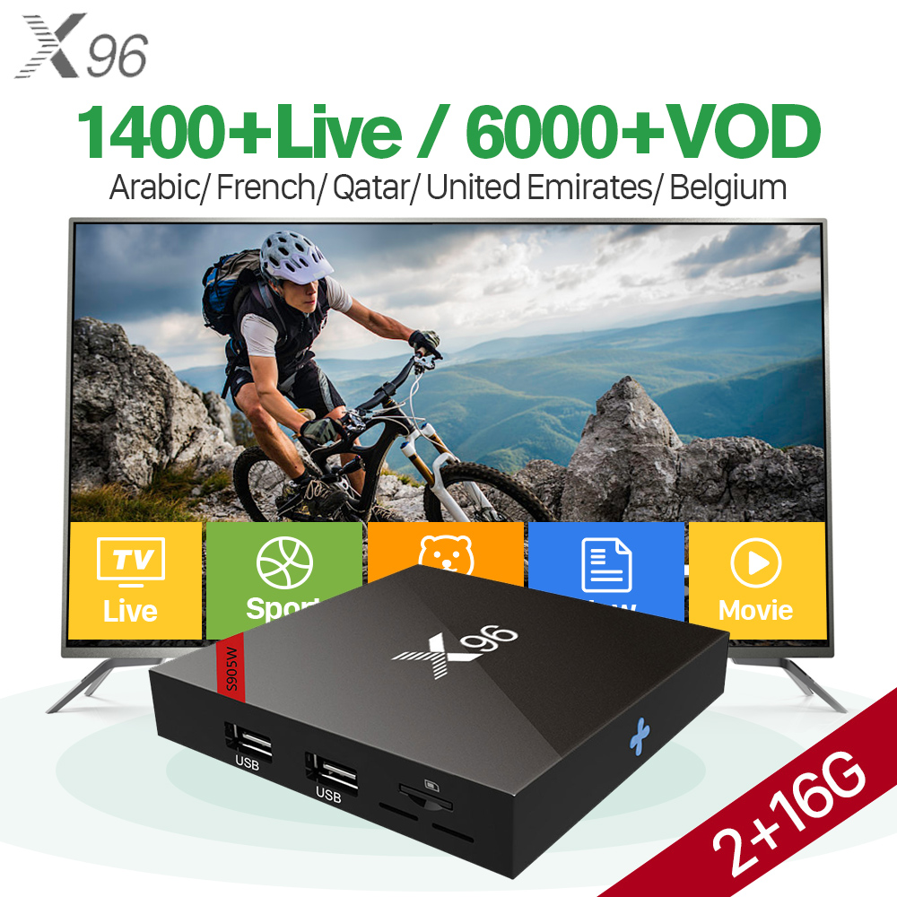 X96W Arabic IPTV Android 7.1.2 tv box Amlogic S905W Quad Core Set top box IPTV QHDTV France Arabic Belgium Netherland IP TV