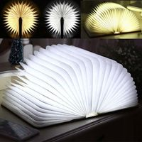 Big size Wood LED Book Light Lamp Folding LED Nigh tlight Best Home Novelty Decorative USB Rechargeable gift Warm White