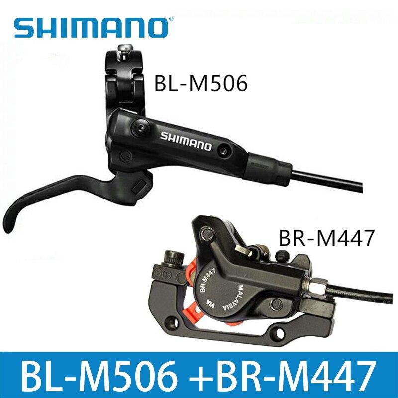 Shimano m506 + m447 mtb bicicleta conjunto de freio a disco hidráulico braçadeira montanha para freio da bicicleta freio a disco & freio folha parafusos