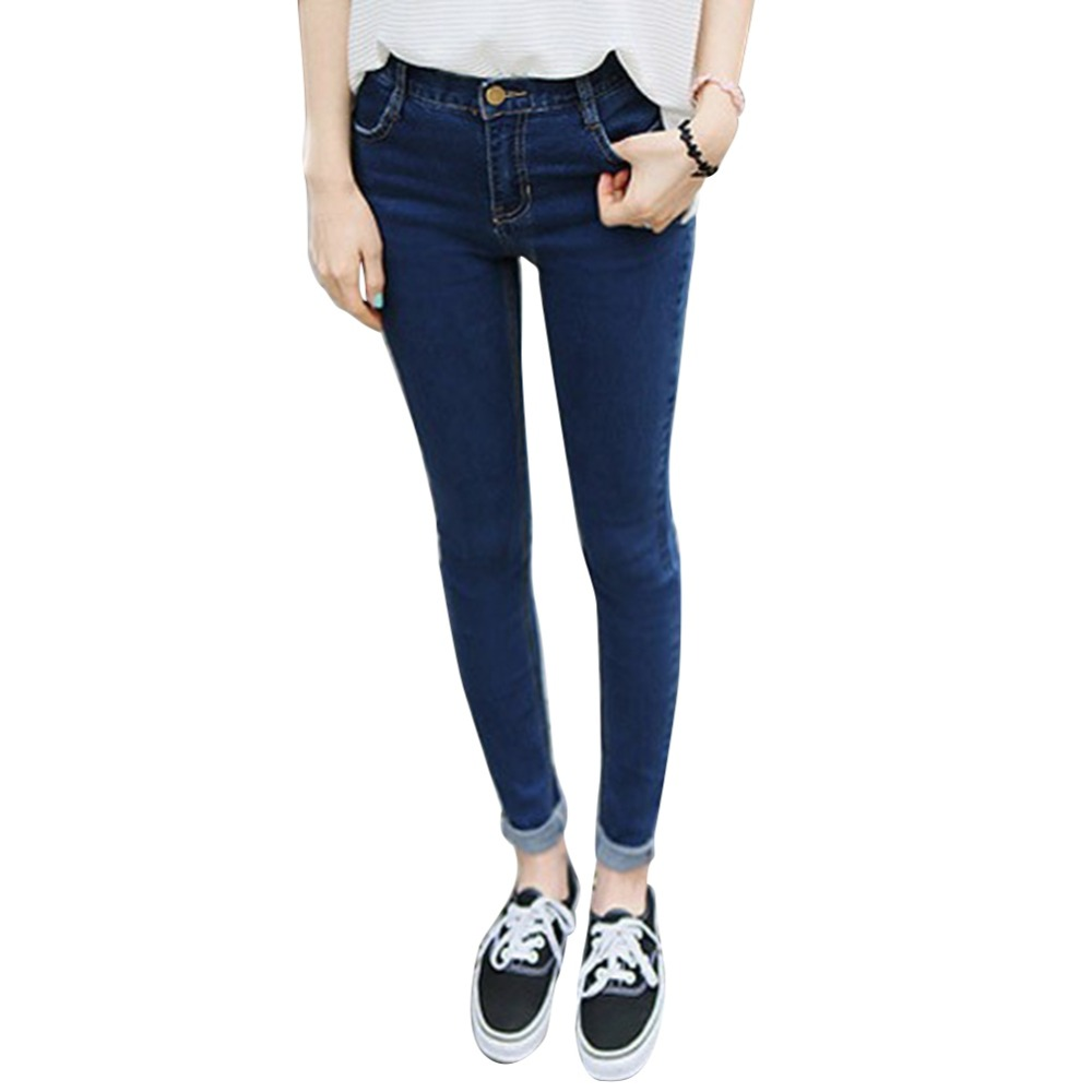 2017 Women Pencil Stretch Denim Skinny Jeans Pants High Waist Trousers 2016 hole jeans free shipping woman distressed true denim skinny jean pencil pants trousers ripped jeans for women 031